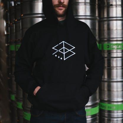 Man wearing RB Embroidered Hoodie (Black)