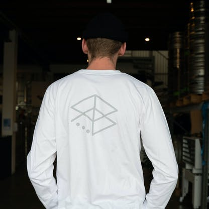 White Retro Long Sleeve Back