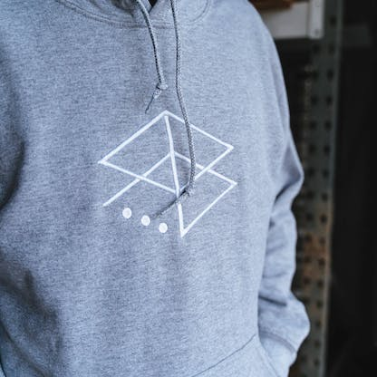 Grey Embroidered Hoodie close up