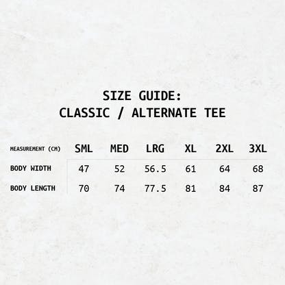 A text-based size guide for the RB Classic/Alternate Tee's