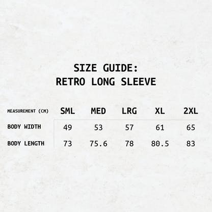 A text-based size guide for the RB Longsleeve Tee's