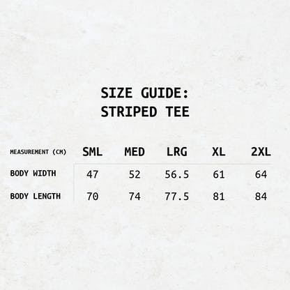Text-based sizing guide for the RB striped tee's