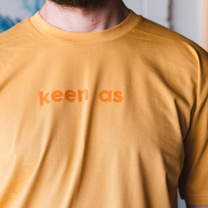 Close up of 'Keen As' tee