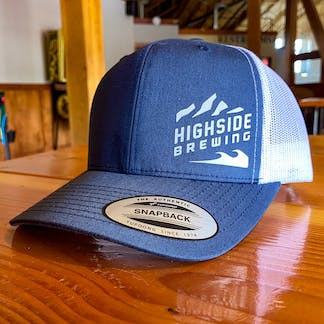 Blue baseball hat with Highside Logo