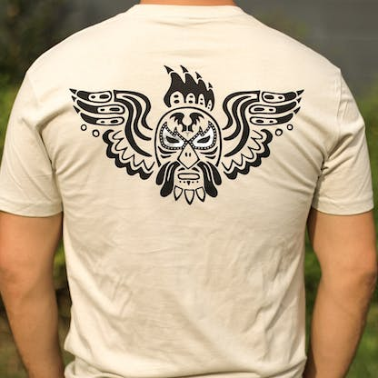 Tan T with brown logo on back