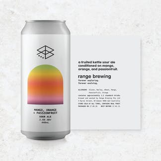 Mango, Orange + Passionfruit can with rolled-out label