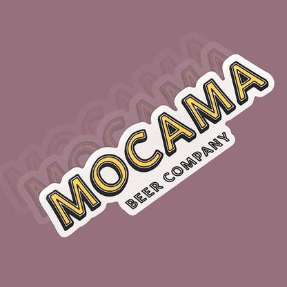 This is a sticker with the logo that say Mocama Beer Company in Yellow with a white outline. It is diecut.