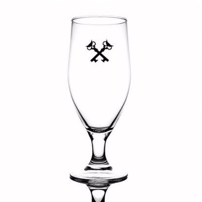 13oz rastal aviero goblet glass that we use for IPAs and sours. Black crosskeys printed.