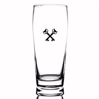 16oz Willie Becher glass that we use for pilsners and lagers. Black crosskeys printed.