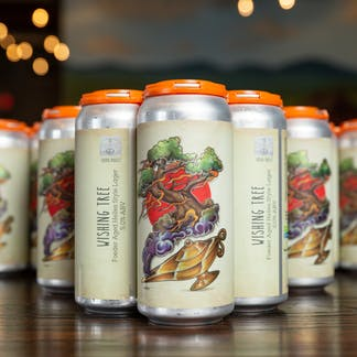cans of Wishing Tree Lager
