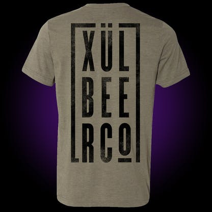 """""""Xul Beer Co"""" Block Tee in olive green with black print"""