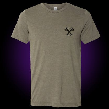 Front of the olive green block tee has our crosskeys in black