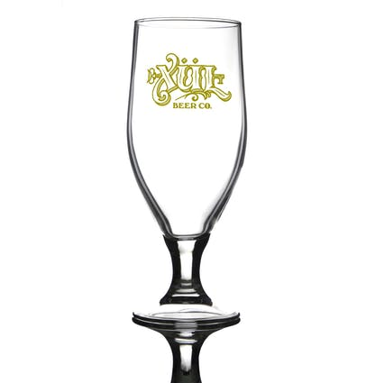 13oz rastal aviero goblet glass that we use for IPAs and sours. Full logo in gold printed.