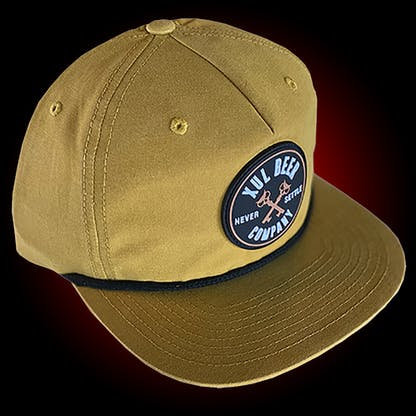 Yellow grandpa hat with a black cord. It has a round rubber patch with our circle logo.