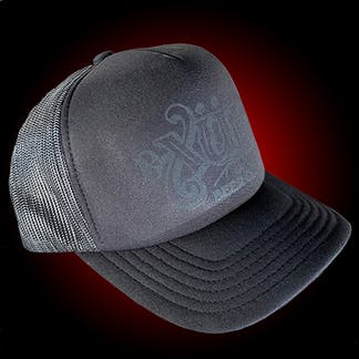 Blacked out foam trucker hat with our full logo