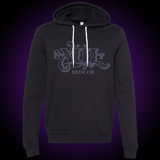 Black hoodie with our full logo in a frost blue across the front