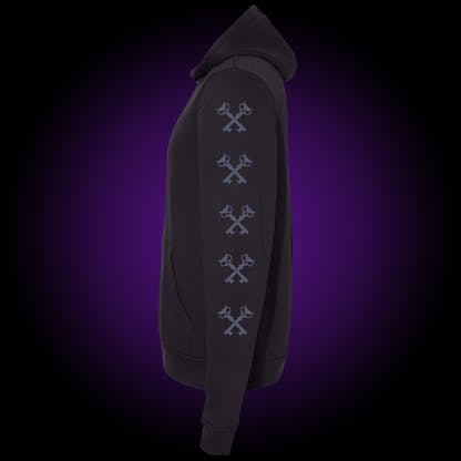 Black hoodie with our crosskeys repeated down the left arm