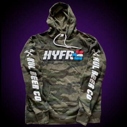 """Camo hoodie with HYFR logo on the front and """"Xul Beer Co"""" down both sleeves."""