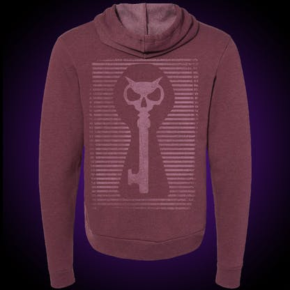 Maroon hoodie with our distressed keyhole logo on the back