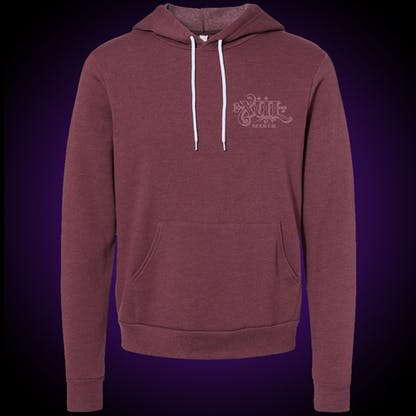 Maroon hoodie with our full logo on the front left chest
