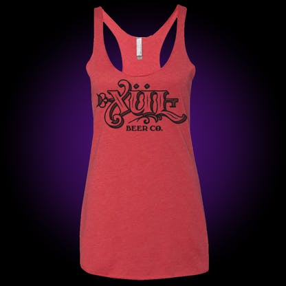 Full logo ladies' tank top in coral red with black print.