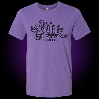 Full logo tee in purple with black print