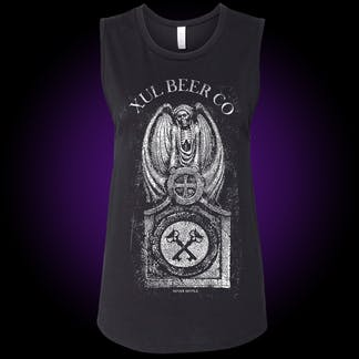 Tomb graphic with our crosskeys in the center on a black muscle tank.