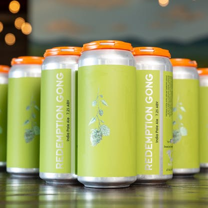 Redemption Gong IPA cans