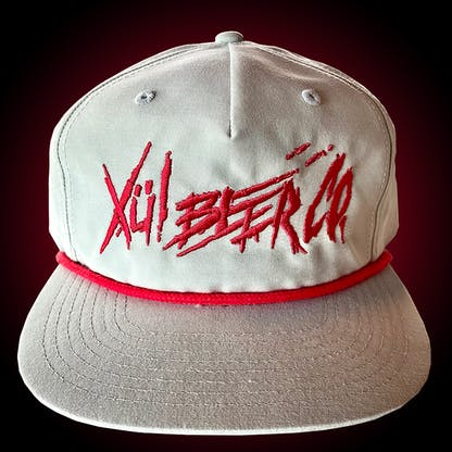 Grandpa hat in seafoam with red thrasher logo.