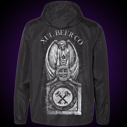 Back of black windbreaker with our tombstone graphic.