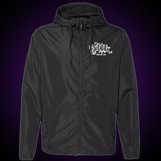 Front of black windbreaker with our full logo on the left chest in white