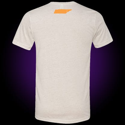 back of white oatmeal tee with an orange silhouette of the state of tennessee with the xul skull logo in it