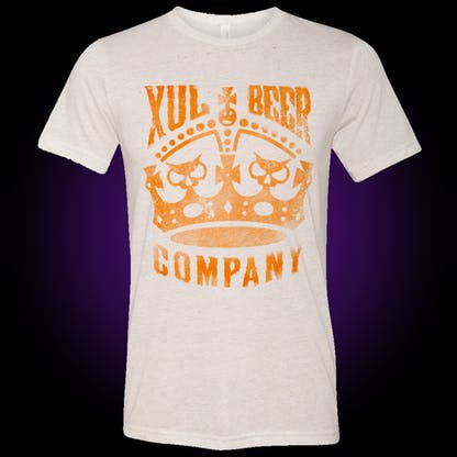 white oatmeal t-shirt with xul crown logo in tennessee orange