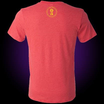 red t-shirt with our burst keyhole logo in yellow