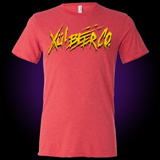 red t-shirt with our thrasher logo in yellow
