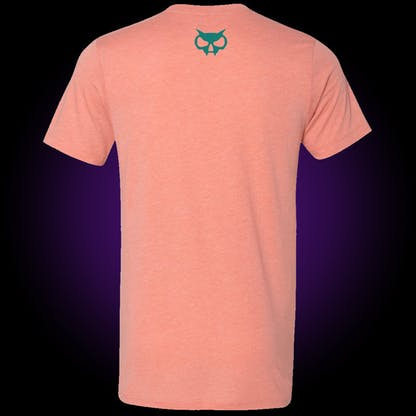 back of circle logo tee in sunset pink shows our skull head in teal