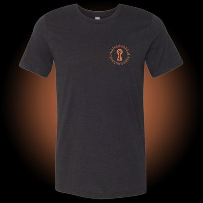 2021 Halloween black shirt with our burst keyhole logo on the front left chest